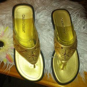 Cabin Creek Shoes - Gold sandles